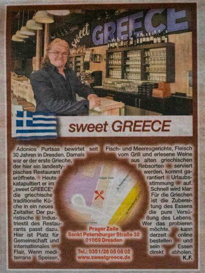 sweet GREECE - Auszug aus der Morgenpost - Adonios Purtsas