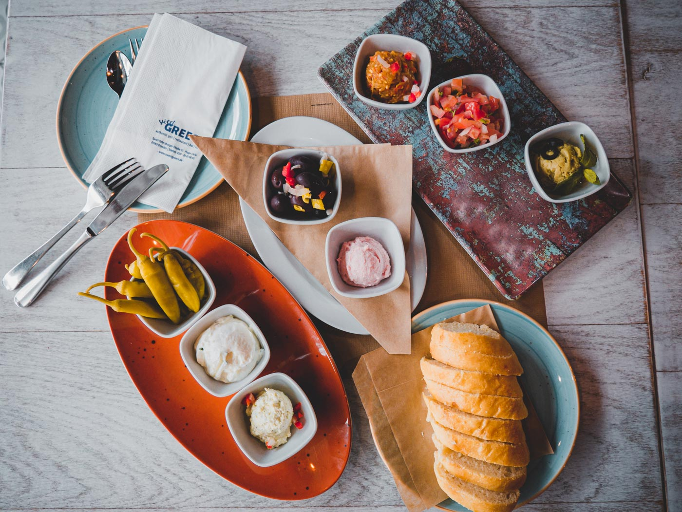 The Pikilia plate as a starter for pick-up at the sweet GREECE restaurant in Dresden
